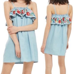 NWT Topshop Moto Floral Embroidered Chambray Dress